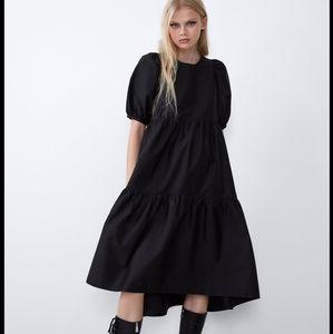 COPY - Zara black poplin asymmetrical puffy midi …